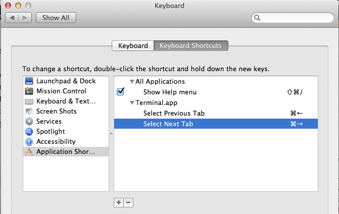 Overriding default keyboard shortcuts in Mac OSX (Mountain Lion) (2/3)