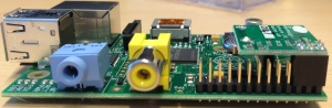This is the RasClock installed on the Raspberry Pi, side view