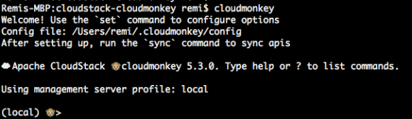 When you see this, CloudMonkey is installed successfully.